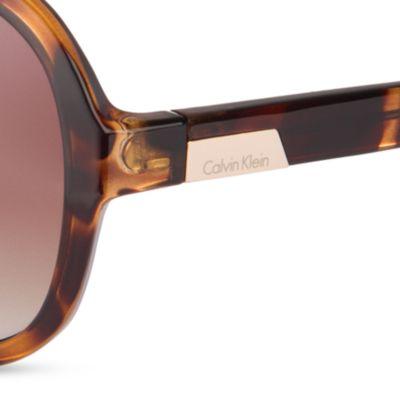Women: Calvin Klein Accessories: Dark Tortoise Calvin Klein Oval Two-Tone Sunglasses