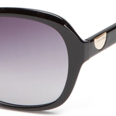 Womens Sunglasses: Black Calvin Klein Rectangle With Logo Button Sunglasses