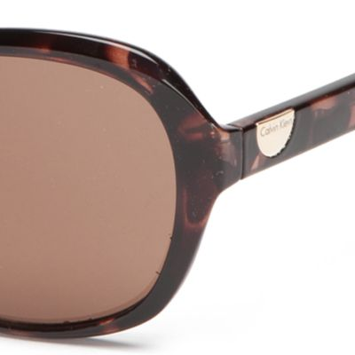 Calvin Klein Sunglasses: Soft Tortoise Calvin Klein Rectangle With Logo Button Sunglasses