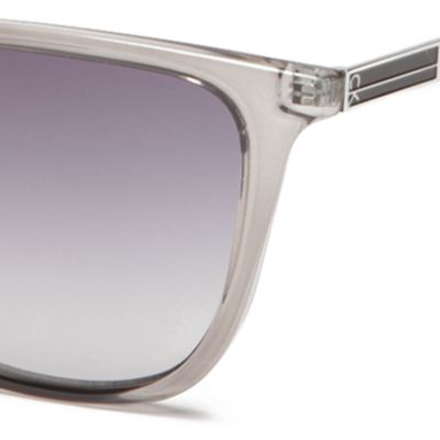 Cat Eye Sunglasses: Crystal Charcoal Calvin Klein Modified Cat With Large Metal Plaque Sunglasses