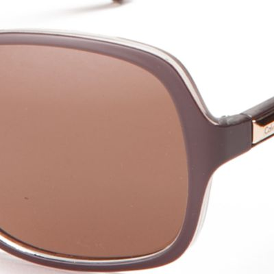 Rectangle Sunglasses: Crystal Brown Calvin Klein Large Rectangle Sunglasses