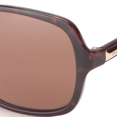 Calvin Klein Sunglasses: Soft Tortoise Calvin Klein Large Rectangle Sunglasses