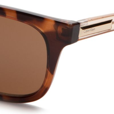 Womens Sunglasses: Soft Tortoise Calvin Klein Square Sunglasses