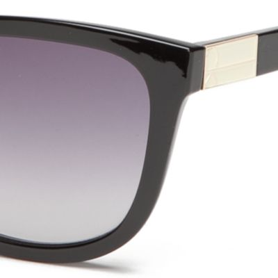 Wayfarer Sunglasses: Black Calvin Klein Rounded Rectangle With Metal Logo Sunglasses