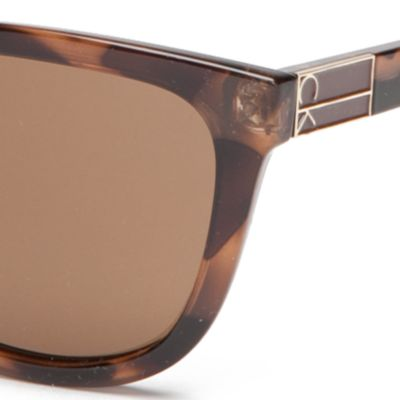 Wayfarer Sunglasses: Soft Tortoise Calvin Klein Rounded Rectangle With Metal Logo Sunglasses