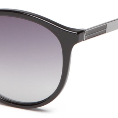 Calvin Klein Sunglasses: Black Calvin Klein Modified Round With Metal Plaque Sunglasses