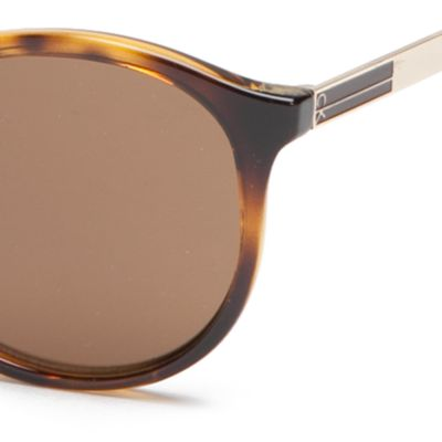 Calvin Klein Sunglasses: Tokyo Tortoise Calvin Klein Modified Round With Metal Plaque Sunglasses