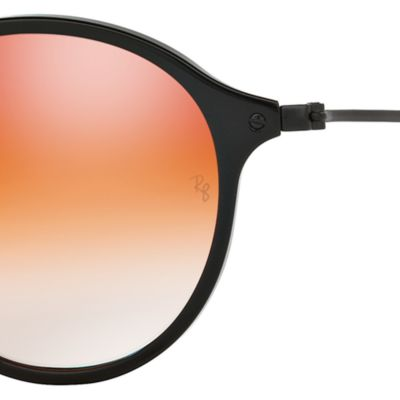 Guys Sunglasses: Black/Red Ray-Ban Ombre Flash Round Sunglasses