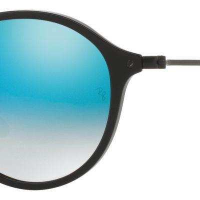 Guys Sunglasses: Black/Blue Ray-Ban Ombre Flash Round Sunglasses