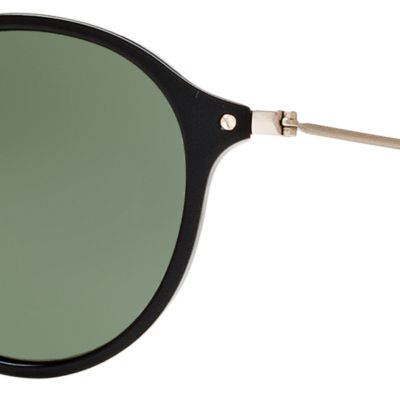 Guys Sunglasses: Black/Green Ray-Ban Ombre Flash Round Sunglasses