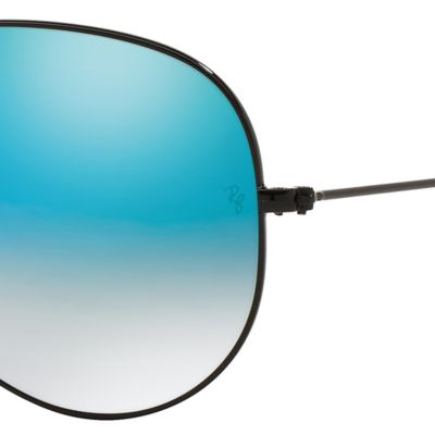 Guys Sunglasses: Black/Blue Ray-Ban Aviator Ombre Flash Mirror Sunglasses