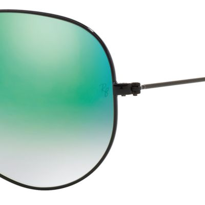 Guys Sunglasses: Black/Green Ray-Ban Aviator Ombre Flash Mirror Sunglasses