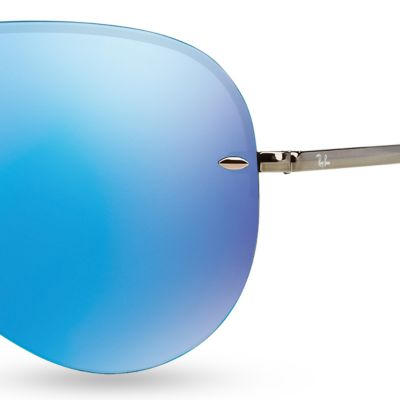 Guys Sunglasses: Blue Ray-Ban Flash Mirror Aviator 59-mm. Sunglasses