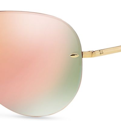 Guys Sunglasses: Pink Ray-Ban Flash Mirror Aviator 59-mm. Sunglasses
