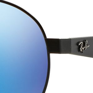 Mens Sunglasses: Black/Blue Ray-Ban Flash Round Aviator 55-mm. Sunglasses
