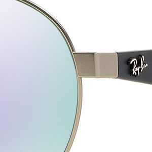 Mens Sunglasses: Silver/Purple Ray-Ban Flash Round Aviator 55-mm. Sunglasses