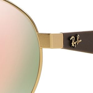 Mens Sunglasses: Gold/Pink Ray-Ban Flash Round Aviator 55-mm. Sunglasses