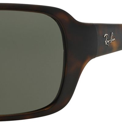 Mens Sunglasses: Matte Havana Ray-Ban Polarized Wrap 60-mm. Sunglasses