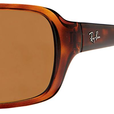 Mens Sunglasses: Tortoise Polar Ray-Ban Polarized Wrap 60-mm. Sunglasses