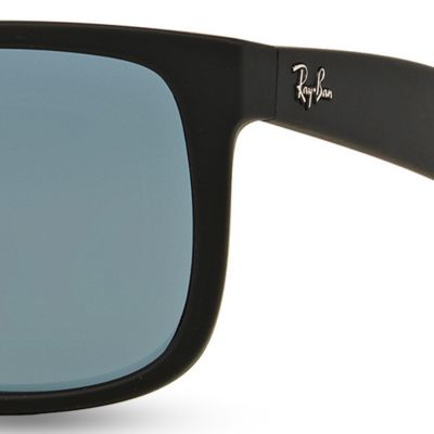 Mens Sunglasses: Dark Grey/Black Ray-Ban Justin 55-mm. Sunglasses