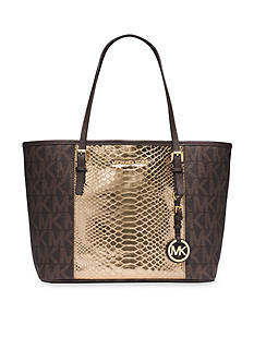 MICHAEL Michael Kors Jet Set Travel Logo Snakeskin Pattern-Embossed Leather Small Tote