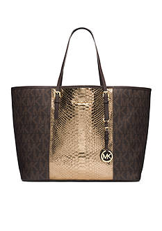 MICHAEL Michael Kors Jet Set Travel Center Stripe Saffiano Leather Medium Tote