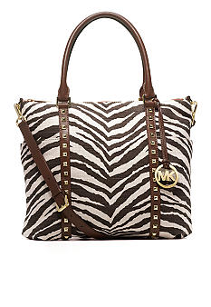 MICHAEL Michael Kors Jet Set Pyramid Tiger Print Jute Canvas