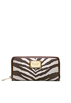 MICHAEL Michael Kors Jet Set Zip Around Continental in Printed Jute Canvas