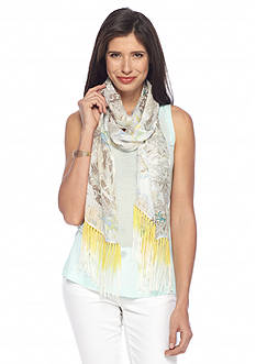 Collection XIIX Paisley Long and Skinny Fringe Scarf