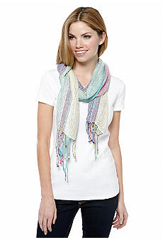 Collection XIIIX Striped Open Weave Scarf