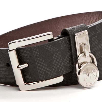 Handbags & Accessories: Michael Kors Designer Accessories: Black Michael Kors Signature Leather Belt