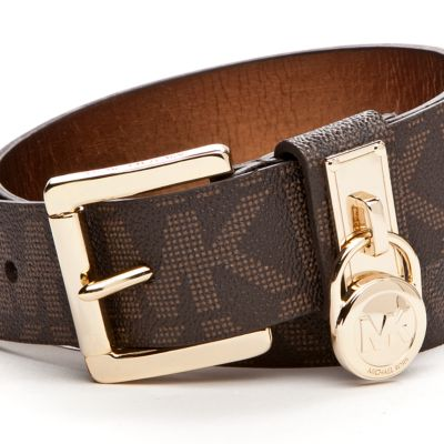 Michael Kors Women: Chocolate Michael Kors Signature Leather Belt