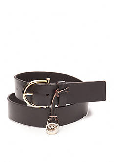 Michael Kors Logo Padlock Charm Leather Belt