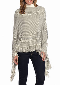 New Directions Marled Mixed Retro Poncho