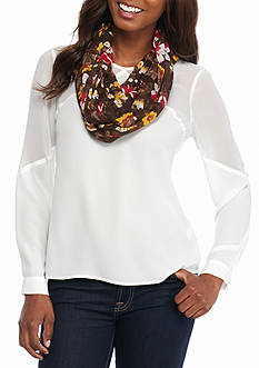 New Directions Sunset Floral Infinity Scarf