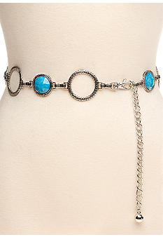 New Directions Braided Ring and Stone Chain Belt