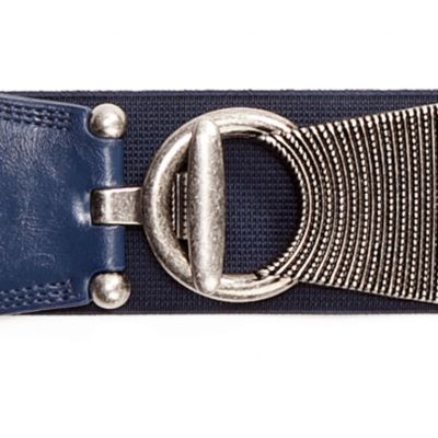 Belts for Women: Navy New Directions Textured Stretch Belt