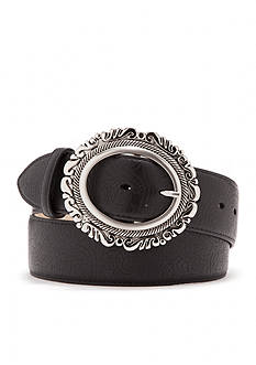 New Directions Leaf Embossed Filigree Buckle Belt