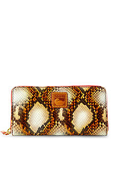 Dooney & Bourke Python Embossed Leather Zip Around Wallet