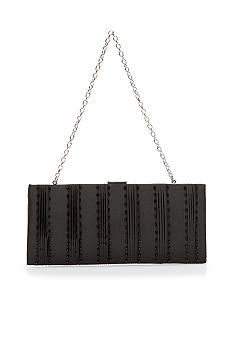 Jessica McClintock Pleated Satin and Beaded East West Frame Evening Bag