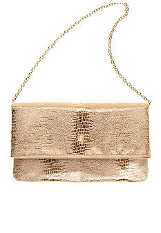 Jessica McClintock Metallic Lizard Flap Clutch