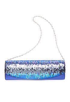 Jessica McClintock Satin Sequin Flap Evening Bag