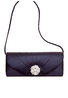 Jessica McClintock Satin Evening Bag with Pearl Cluster