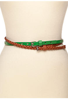 Red Camel Skinny Heart and Braided Set of 2 Belts
