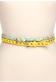 Red Camel Floral Braided Belt Duo
