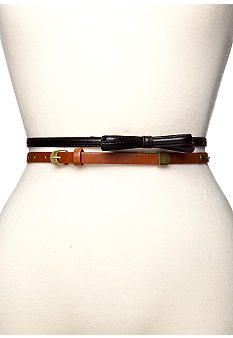 Red Camel Bow and Bar Skinny Belt Duo