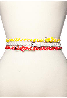 Red Camel Polka Dot Braided Belt Trio