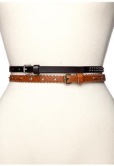 Red Camel Center Stud and Scallop Skinny Belts Duo