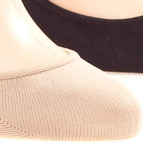 Womens Socks: Assorted (2 Cream/2 Black) HUE Microfiber Liner 4-Pack
