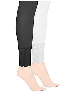 HUE Lace Trim Opaque Footless Tights
